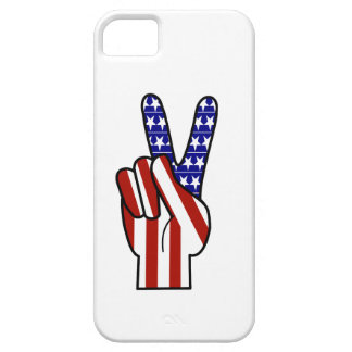 Hand Peace Sign - Red White & Blue iPhone 5 Cover