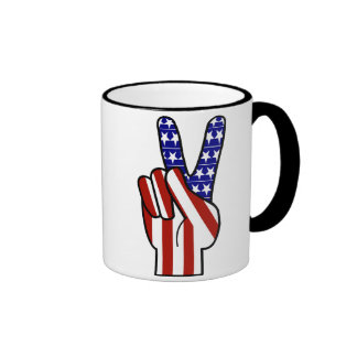 Hand Peace Sign - Red White & Blue Coffee Mugs