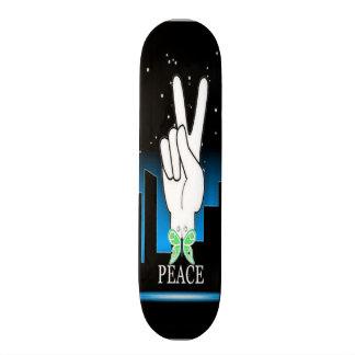 Hand Peace Symbol with a City Background Custom Skateboard