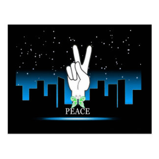 Hand Peace Symbol with a City Background Postcard