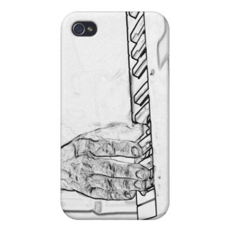 hand playing keyboard bw ink outline iPhone 4 cases