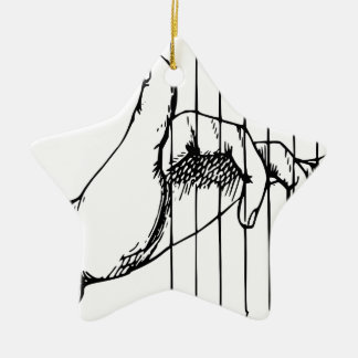 Hand Playing Musical Notes Ceramic Star Ornament