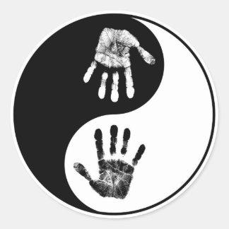 Hand Print-Yin-Yang.jpg Classic Round Sticker
