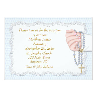 Hand Rosary Beads Blue Card