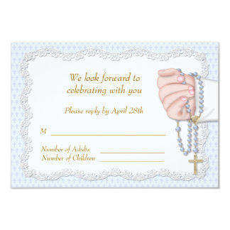 Hand Rosary Beads Blue RSVP Card