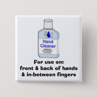 Hand Sanitizer Directions 2 Inch Square Button