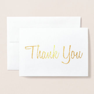 HAND SCRIPT THANK YOU LETTER CARD GOLD FOIL