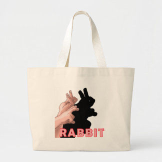 HAND SHADOW RABBIT LARGE TOTE BAG