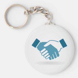 Hand shake basic round button keychain