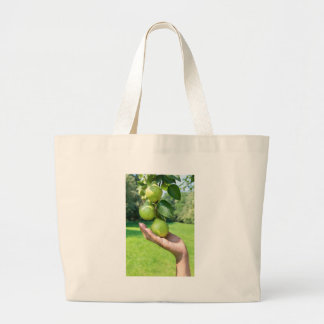 Hand showing branch with hanging green pears large tote bag