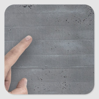 Hand showing concept on copy space template square sticker
