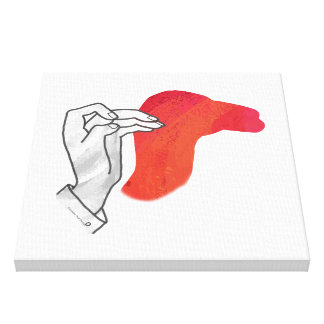 Hand Silhouette Camel Red Canvas Print