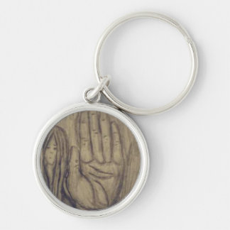 Hand Silver-Colored Round Keychain