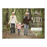 """Hand Sketched Banner Holiday Photo Greeting Card 5"""" X 7"""" Invitation Card"""