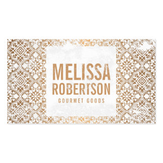 Hand-Stamped Copper and White Vintage Pattern Pack Of Standard Business Cards