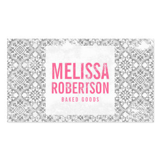 Hand-Stamped Gray and White Vintage Pattern Business Card