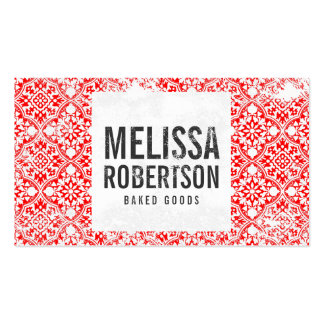 Hand-Stamped Red and White Vintage Pattern Business Card