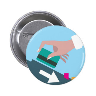 Hand swiping credit card 2 inch round button