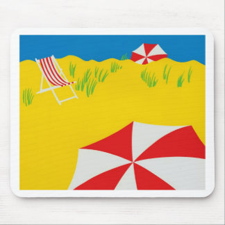 Hand Tempera Painted Beach Scene Mouse Pad