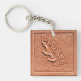 Hand Tooled Leather Oak Leaf Acrylic Keychain