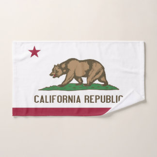 Hand Towel with Flag of California State, USA