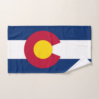 Hand Towel with Flag of Colorado State, USA