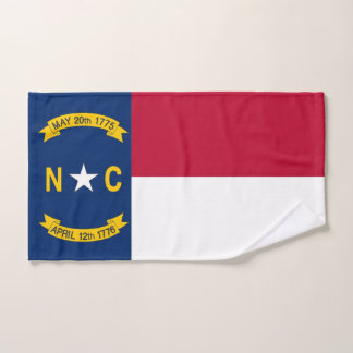 Hand Towel with Flag of North Carolina State, USA