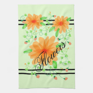 Hand-Towel With Pretty Flowers in Peach With Green Kitchen Towel