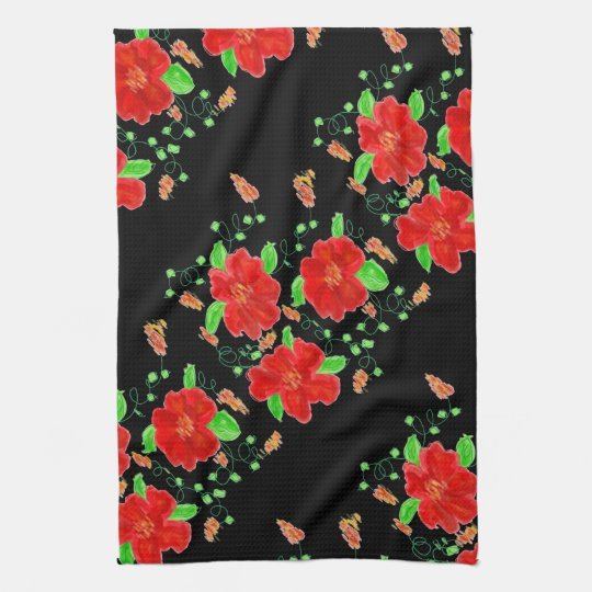 Hand-Towel With Red Flowers At Midnight Kitchen Towels