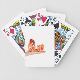 Hand with human heart model on white background.jp poker deck