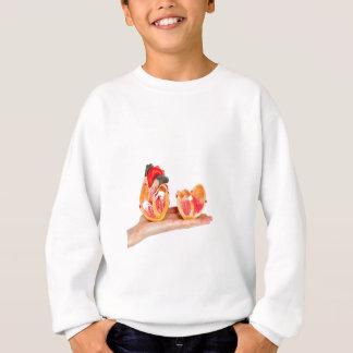 Hand with human heart model on white background.jp sweatshirt