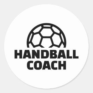 Handball coach classic round sticker