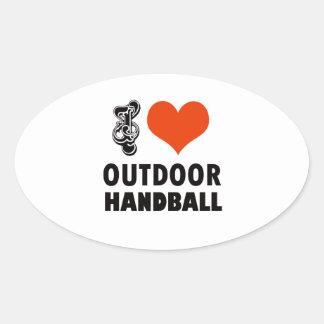 Handball design oval sticker