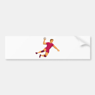 handball player jumping retro bumper sticker