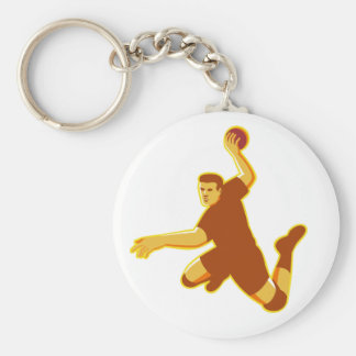 handball player jumping striking retro basic round button keychain