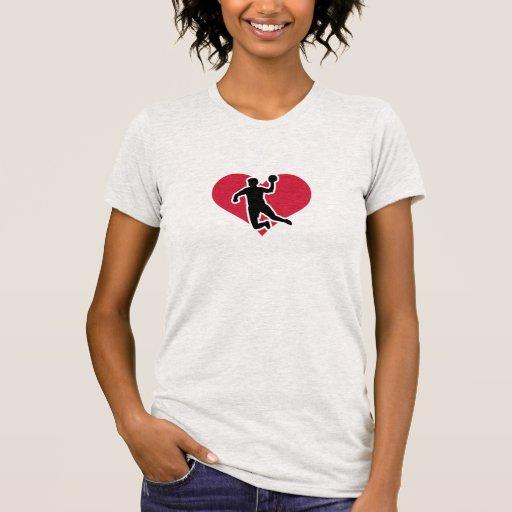 Handball player red heart shirt
