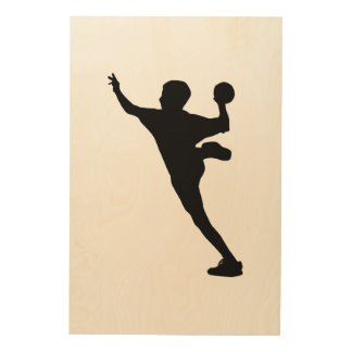 handball player wood canvas