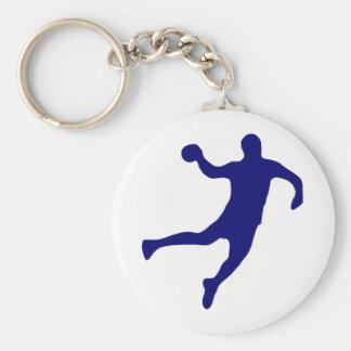Handball Silhouette Basic Round Button Keychain