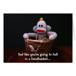 Handbasket Birthday Monkey Card
