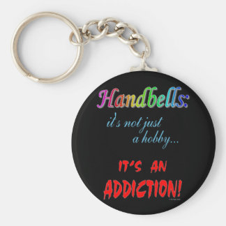 Handbell Addiction Basic Round Button Keychain