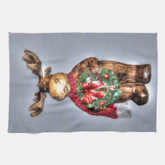 Handcarved-effect Wooden Christmas Reindeer Kitchen Towels