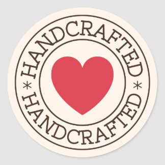 Handcrafted, brown stamp design with red heart round sticker