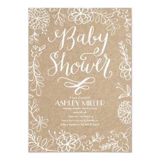 Handdrawn Botanicals Rustic Kraft | Baby Shower Card