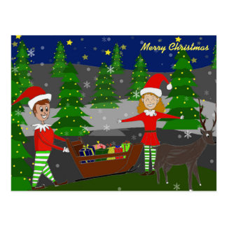 Handdrawn Christmas postcards with Elves