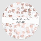 Handdrawn faux rose gold pineapples white marble classic round sticker