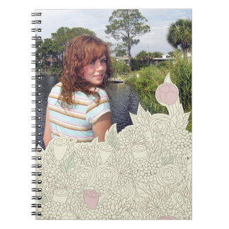 Handdrawn flower border notebook