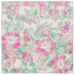 Handdrawn girly pink turquoise floral watercolor fabric