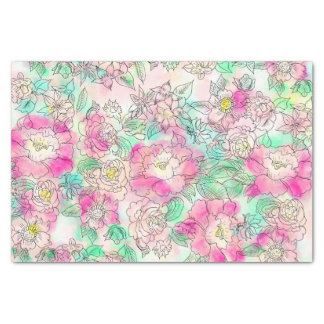 Handdrawn girly pink turquoise floral watercolor tissue paper