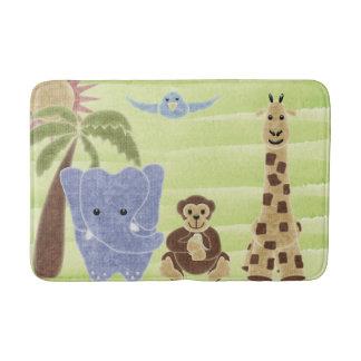 Handdrawn Handpainted Cute Safari Animals Bathroom Mat