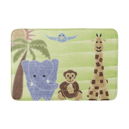 Handdrawn Handpainted Cute Safari Animals Bathroom Mat